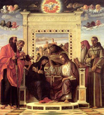 Giovanni Bellini (Venezia 1430/35-1516), Incoronazione della Vergine, olio e tempera su tavola, Musei Civici di Pesaro
