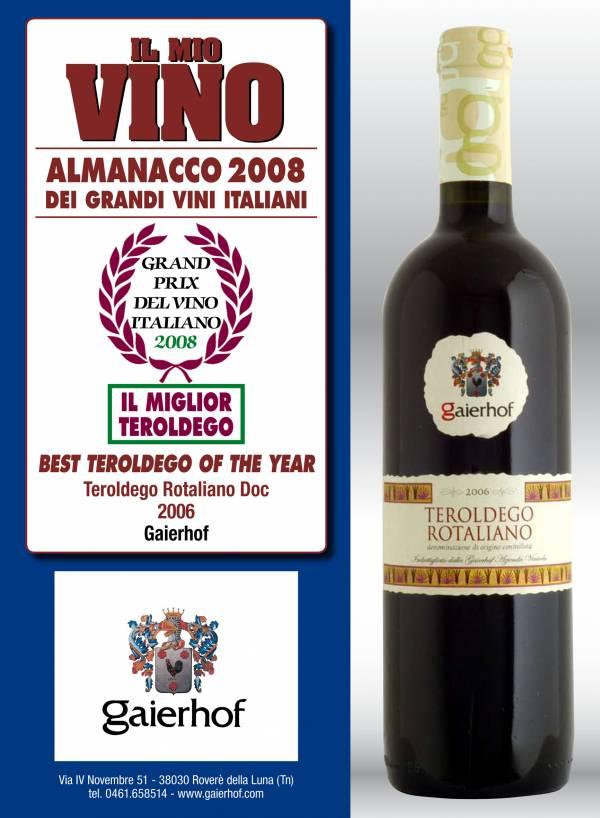 """L´attestato de """"Il Mio Vino"""" che consacra nel 2008 il Teroldego di Gaierhof come migliore dell´anno"""