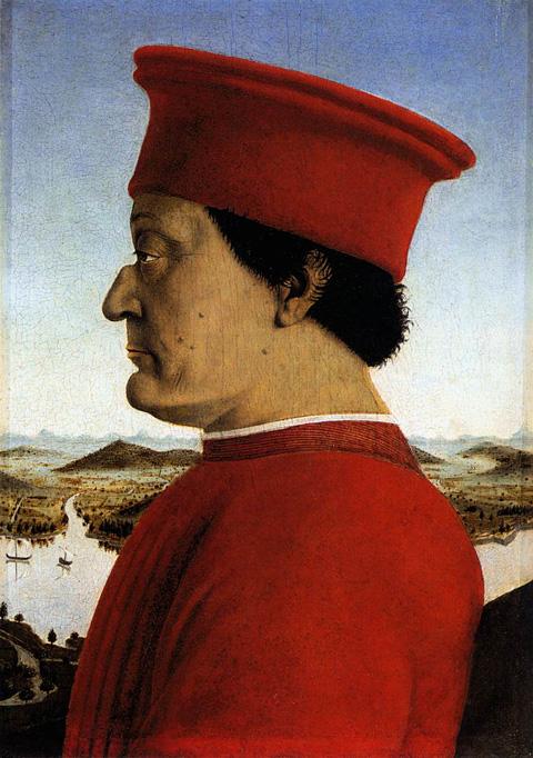 Urbino, Palazzo Ducale, ritratto del Duca Federico da Montefeltro di Piero della Francesca